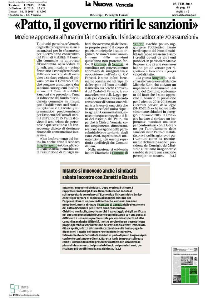 3 febbraio 2016 rassegna stampa nicola pellicani for Camera dei deputati rassegna