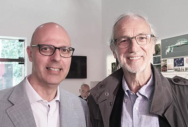 Ritratto di Nicola Pellicani con Renzo Piano nell'ambito della collaborazione al progetto di ricerca G124