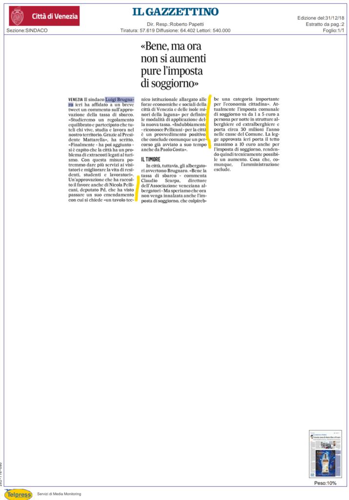 Rassegna stampa tassa di sbarco per venezia nicola for Camera deputati rassegna stampa